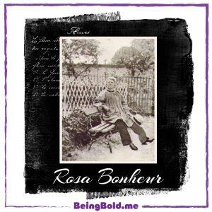 Artist Rosa Bonheur, sitting on a bench