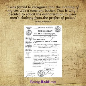 An image of the police permit allowing 19th century artist Rosa Bonheur to wear pants.
