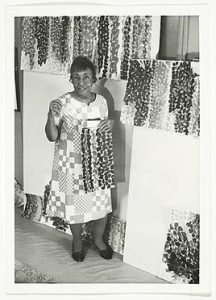 Alma Thomas, American Abstract Painter, in her studio