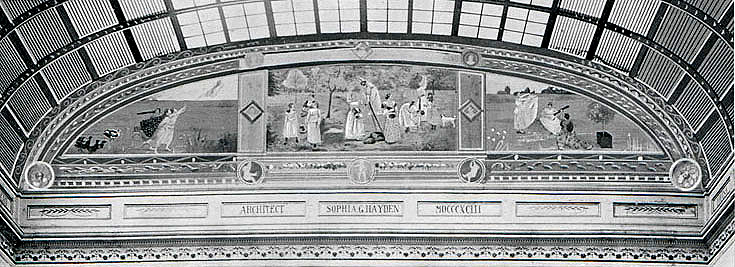 Black and White image of the the Lost Mural by Mary Cassatt from the Columbian Exposition of 1897, Chicago