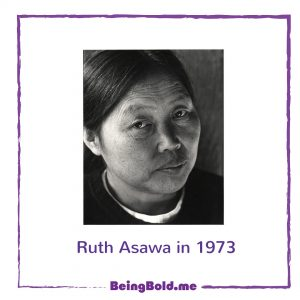 Ruth Asawa, black and white photo taken in 1973 by Mimi Jacobs.