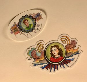 Stickers featuring Hedy Lamarr and Josephine Cochrane, Illustrated by Betsy Zacsek, Copyright 2018