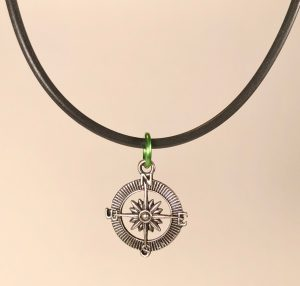 """Compass Necklace with Silver Finish on 20"""" Rubber Cord"""