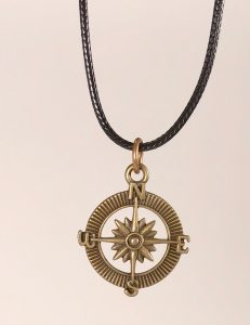 "Compass Necklace in Bronze finish on an 18"" black waxed cotton cord"