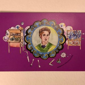 Magnet with a purple background and illustration of Josephine Cochrane, inventor of the first practical automatic dishwasher.