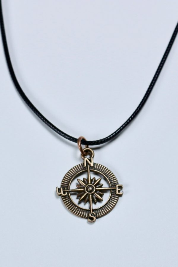 "Follow Your Curiosity Compass Pendant in bronze finish on black, braided, waxed cotton cord, 18"", with lobster claw clasp and extender chain."