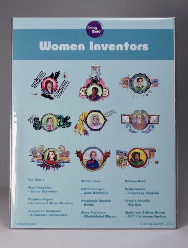Being Bold Women Inventors Poster featuring illustrations of 9 women inventors. Copyright Betsy Zacsek 2018.