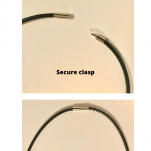 Secure clasp, shown open and closed.