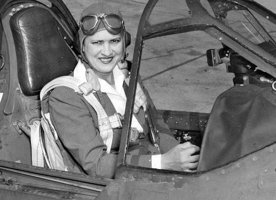 Jackie Cochran in the cockpit of a Curtiss P-40 Warhawk.
