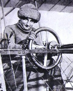 Raymonde de Laroche in the pilot's seat of her Voisin aeroplane.