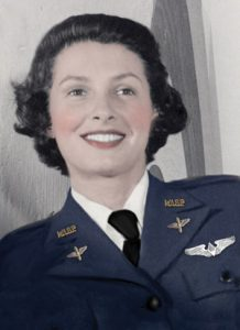 Millie Rexroat, Native American pilot who served in the WASP. Colorized portrait in uniform.