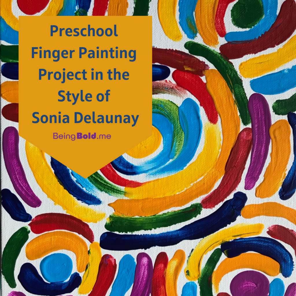 Art Project by Elaine Luther, showing a preschool finger painting project in the style of Sonia Delaunay. A mustard yellow color banner shape says the title of the post. On the right is a canvas board, painted in concentric circles in contrasting colors.
