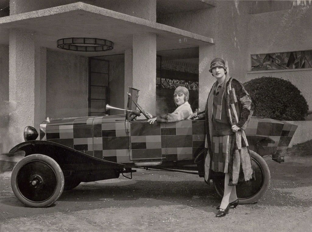 Sonia Delaunay Custom Painted Car and two women