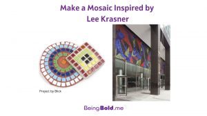 Make a Mosaic Inspired by Lee Krasner, this image graphic shows a mosaic by Lee Krasner and a project kids can make.