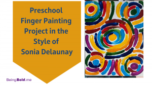 Art Project by Elaine Luther, showing a preschool finger painting project in the style of Sonia Delaunay