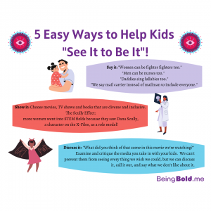"""An image graphic that says """"5 Easy Ways to Help Kids See It to Be It"""" and has illustrations and tips for parents."""