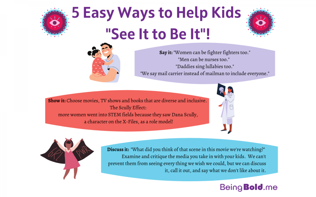5 Easy Ways to Help Kids See it to be it - image graphic with illustrations and text, colorful.