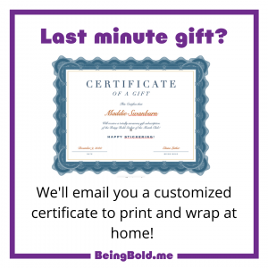 """Image graphic says, """"Last minute gift"""" and an image of the certificate. It explains that we'll email a certificate for the Sticker of the Month Club for last minute gift orders."""