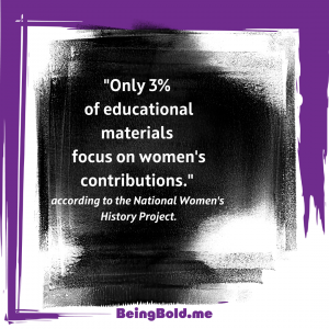 Only 3% of Educational Materials focus on women's contributions.