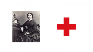 A portrait of Clara Barton, and to her right, the flag of the Red Cross.