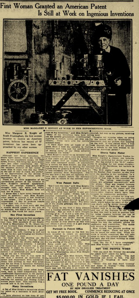 Margaret E. Knight in the Boston Sunday Post March, 31 1912 p. 45. A grainy black and white picture on yellowed newsprint shows an older woman standing next to a work table.  Below the image is a newspaper article in which the inventor is quoted.